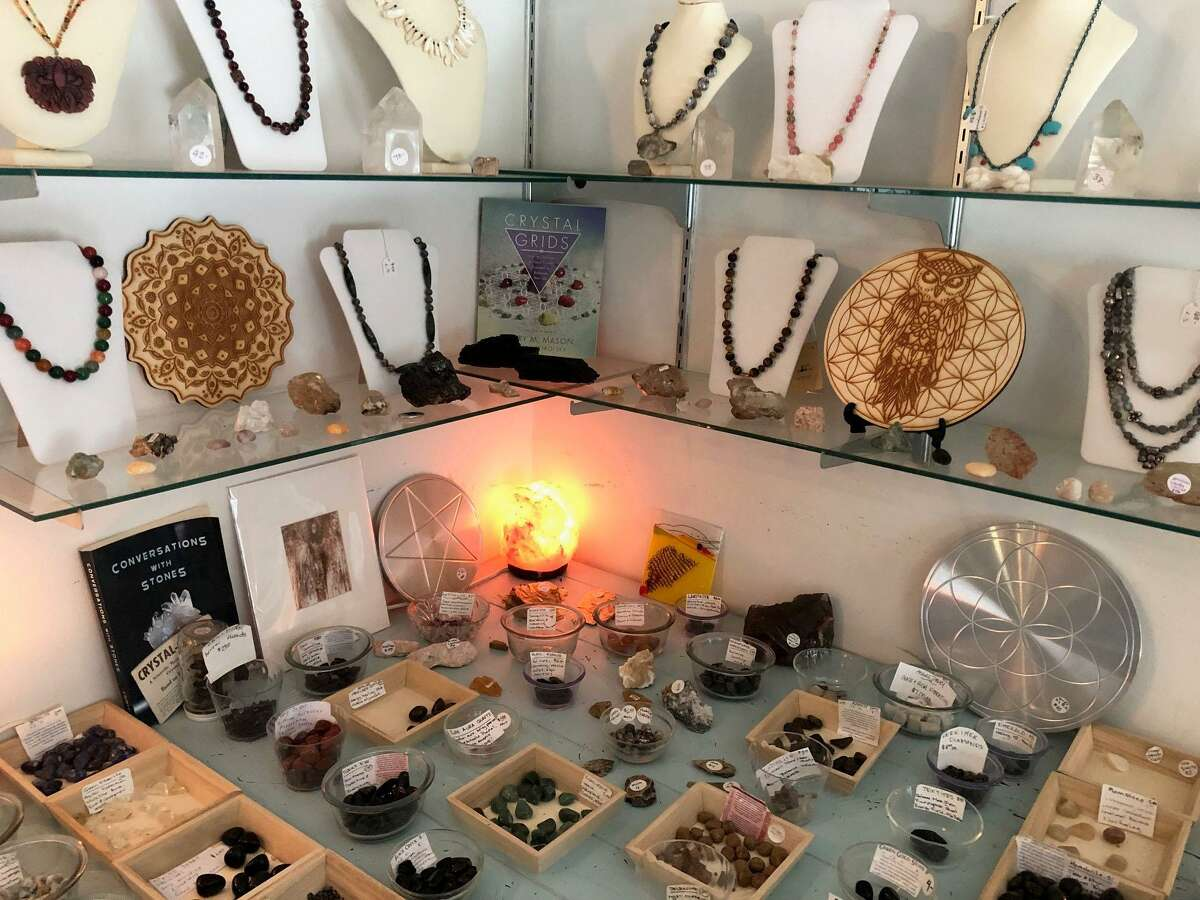 Crystals and jewelry made by local artisans are among the products sold at Enchanted Realms on Route 202 in New Milford.