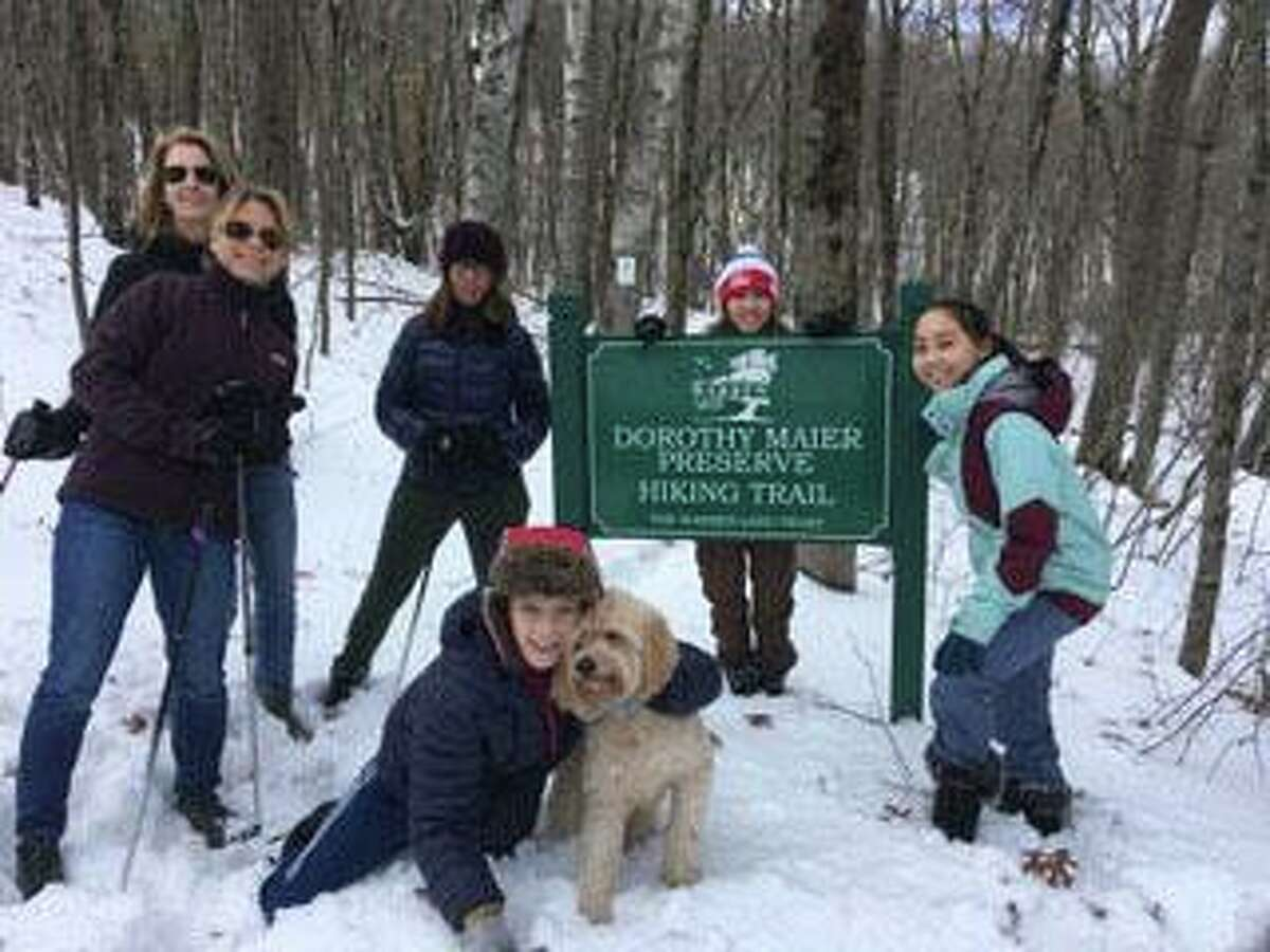 Residents enjoy a hike at Dorothy Maier Preserve.