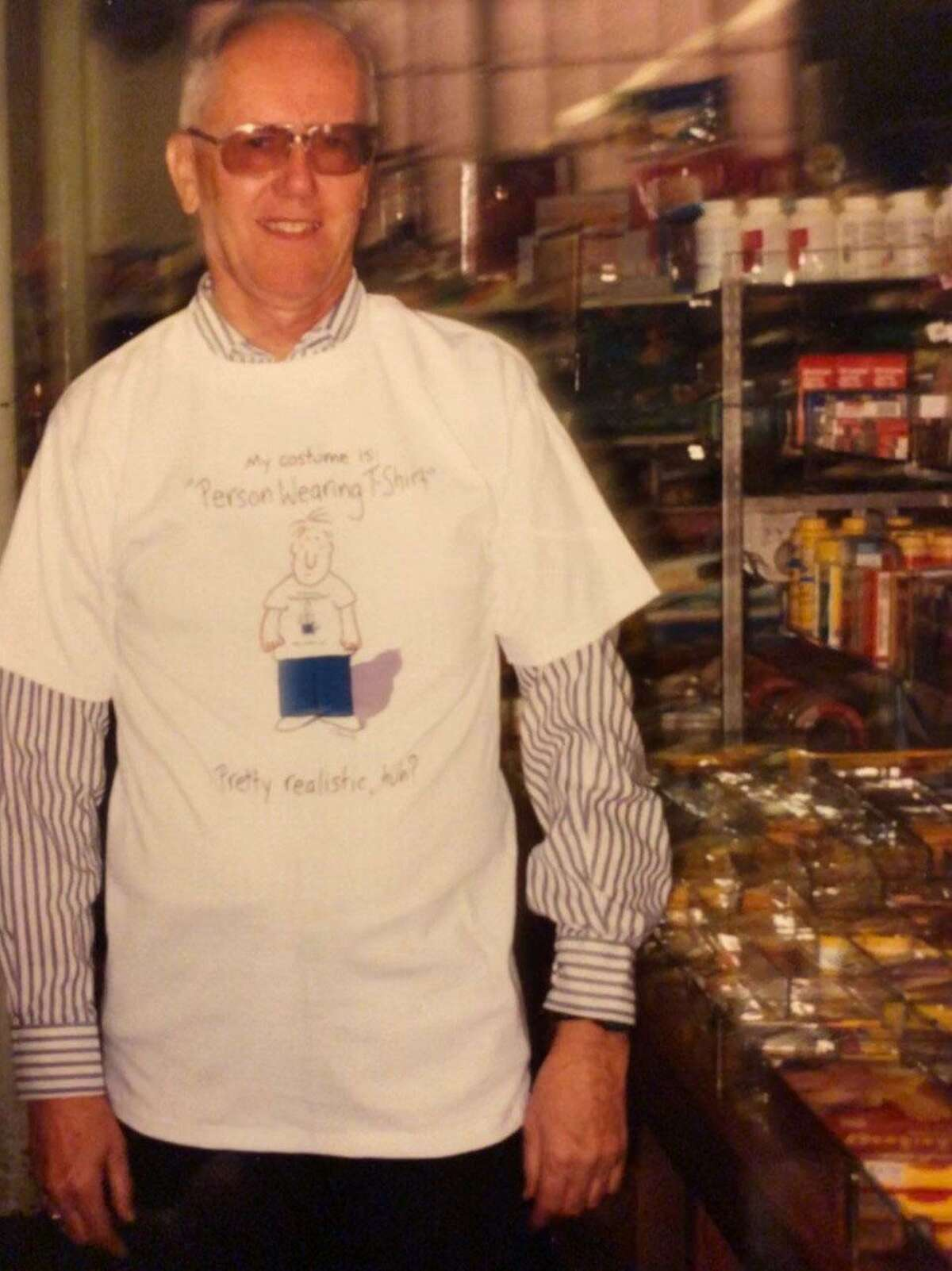 Malcolm Carrier Jr., the last member of the family to own and operate HART'S is shown at Halloween time in this undated photo wearing a T-shirt that reads