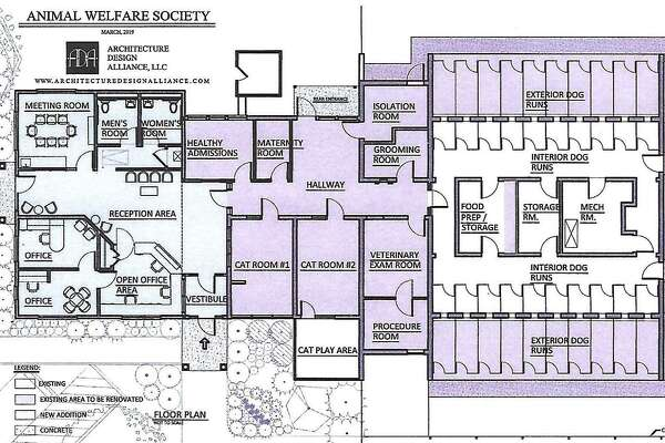 Animal Welfare Society, Inc. in New Milford is making good progress on its renovation and expansion. The project, which will give the facility substantially more room to care for the animals, is expected to be completely finished by Thanksgiving 2019. A rendering of the new space is above.