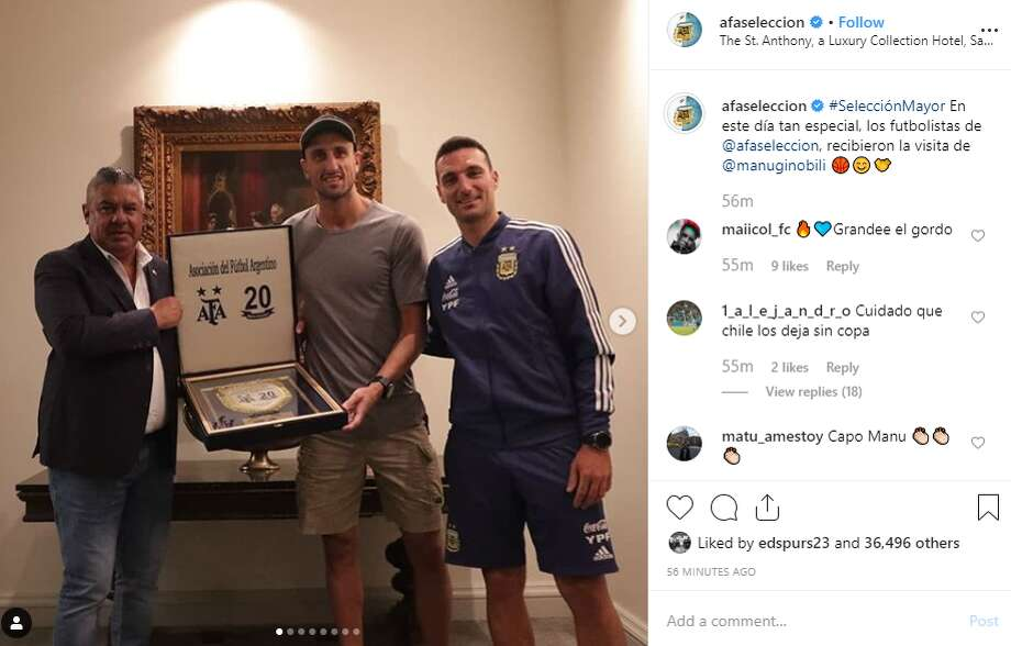 Retired Spurs player Manu Ginobili met with the Argentina Football Association ahead of its match against Mexico tonight at the Alamodome. Photo: Instagram Screengrab