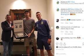Retired Spur Manu Ginobili met with the Argentina Football Association ahead of their match against Mexico at the Alamodome on Sept. 10, 2019.