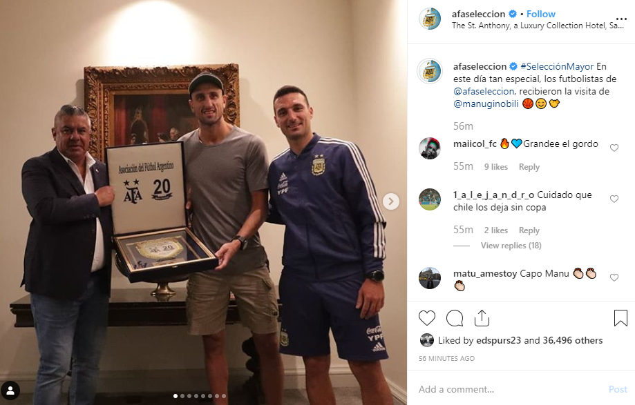 Manu Ginobili met up with Argentina soccer team ahead of match against Mexico
