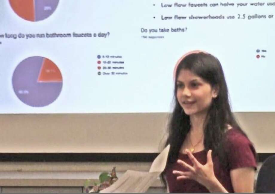 Nisha Nalawade, founder and president of Darien High School's Health and Humanitarian Club, created a water use survey. Photo: Darien TV79 / Contributed Photo / Connecticut Post