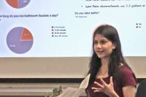 Nisha Nalawade, founder and president of Darien High School's Health and Humanitarian Club, created a water use survey.