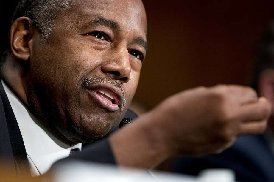 "FILE - Housing and Urban Development Secretary Ben Carson speaks at a Senate Banking Committee hearing on ""Housing Finance Reform: Next Steps"" on Capitol Hill, Tuesday, Sept. 10, 2019, in Washington. He is reportedly joining Trump on his visit on San Francisco on Tuesday. Photo: Andrew Harnik, Associated Press"