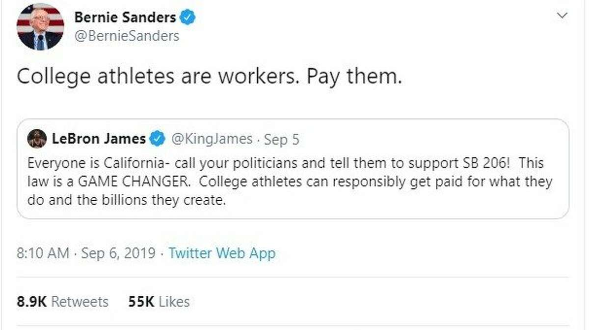 Vermont Senator Bernie Sanders, vying for the Democratic presidential nomination, tweets his support for SB206, which would let student athletes profit from their name, image and likeness.