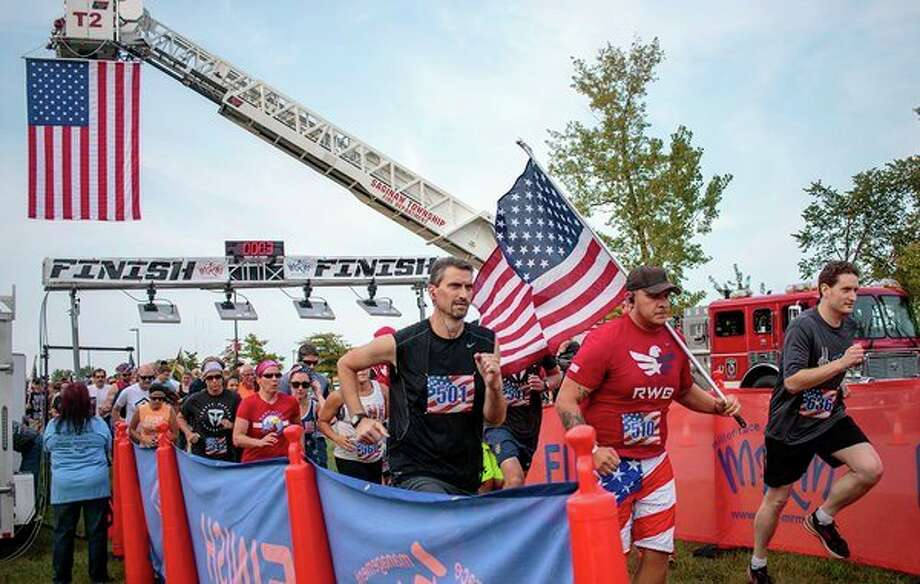 Community members participating in the SVSU-hosted 9/11 Heroes Run in September 2017. (Photo courtesy of University Communications office, SVSU)