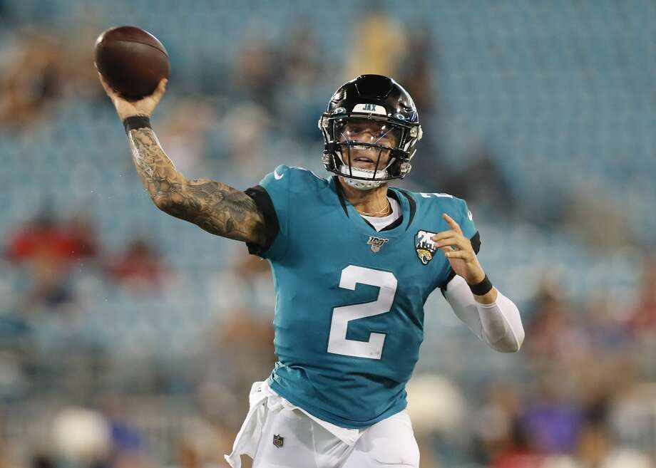 JACKSONVILLE, FLORIDA - AUGUST 29: Alex McGough #2 of the Jacksonville Jaguars throws a pass during the fourth quarter of a preseason game at TIAA Bank Field on August 29, 2019 in Jacksonville, Florida. (Photo by James Gilbert/Getty Images) Photo: James Gilbert 311766/Getty Images