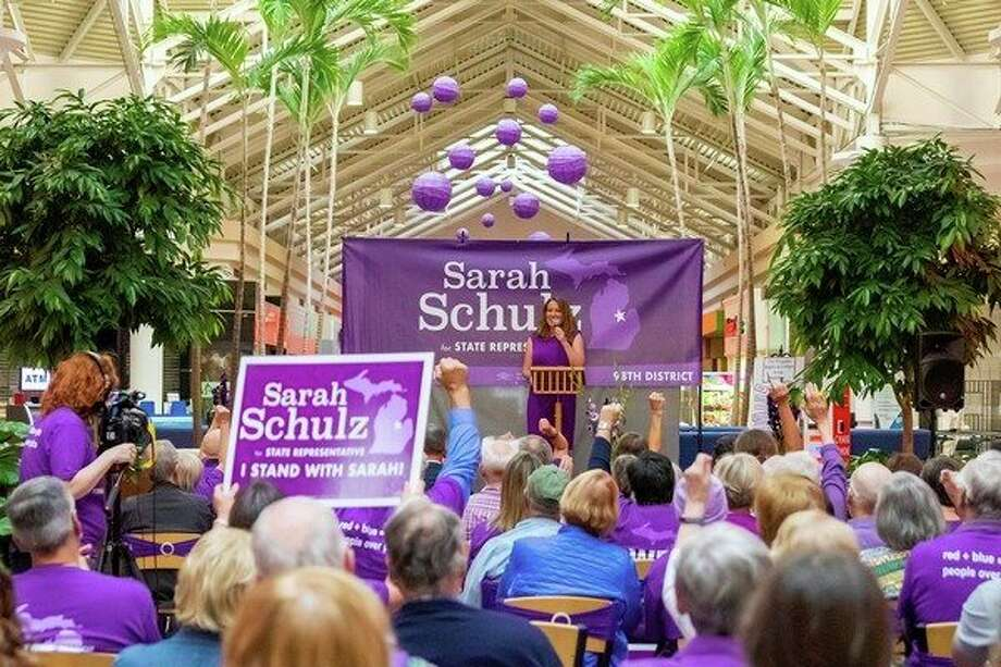 Democrat Sarah Schulz kicked off her 2020 state representative campaign Sunday at the Midland Mall. (Facebook photo)