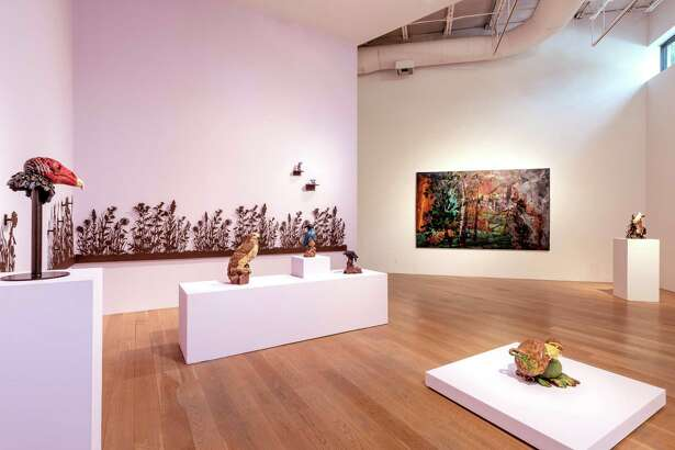 "A view of ""Predators and Prey,"" Melissa W. Miller's exhibition at Moody Gallery."