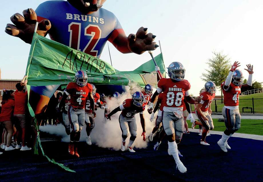 West Brook's Bruins make their entry onfield to face Strake Jesuit's during Friday night's match-up at BISD Memorial Stadium. Photo taken Friday, September 6, 2019 Kim Brent/The Enterprise Photo: Kim Brent / The Enterprise / BEN
