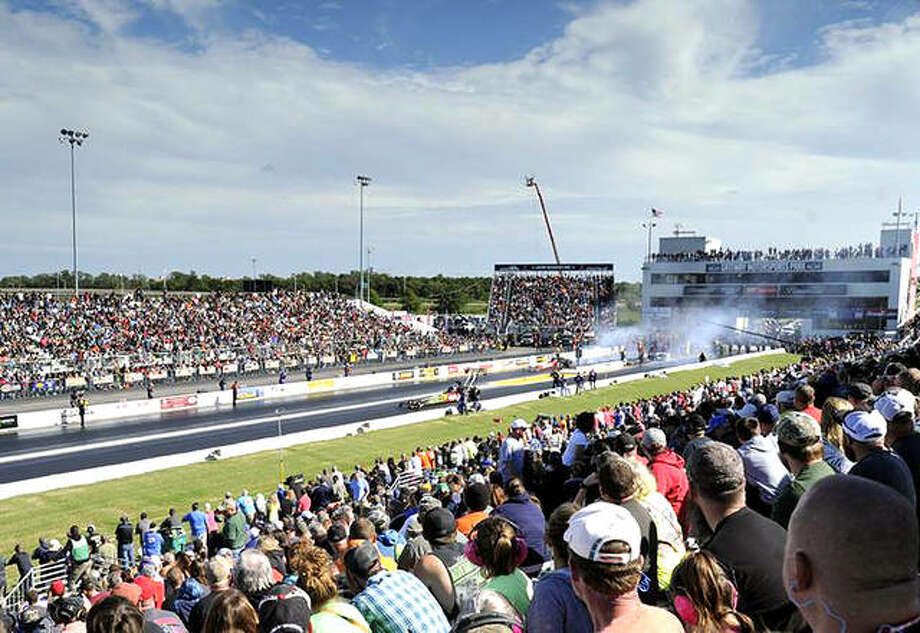 A large crowd watches the 2016 NHRA MIdwest Nationals at Gateway Motorsports Park, now known as World Wide Technology Raceway. Photo: NHRA Photo