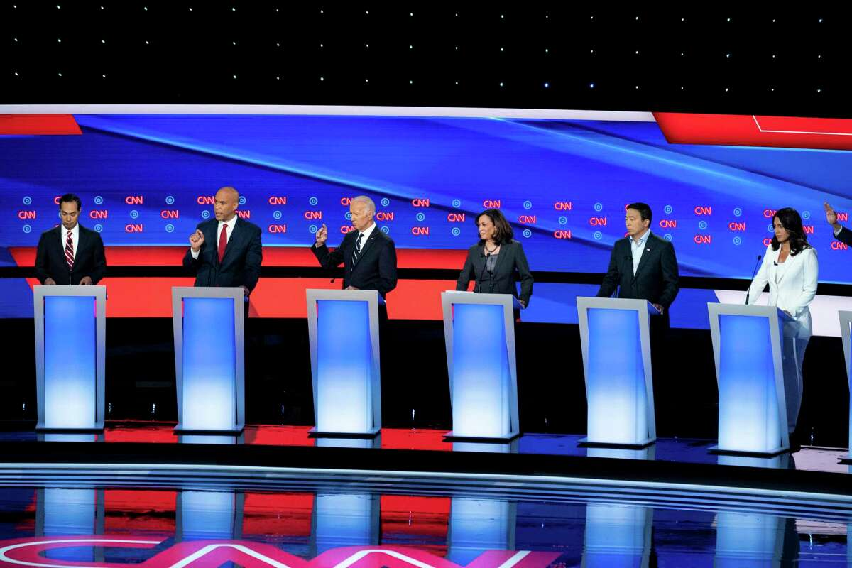 Candidates on stage during the second night of Democratic presidential debates hosted by CNN in July. The third round of debates take place Thursday in Houston for those candidates who've made the cut.