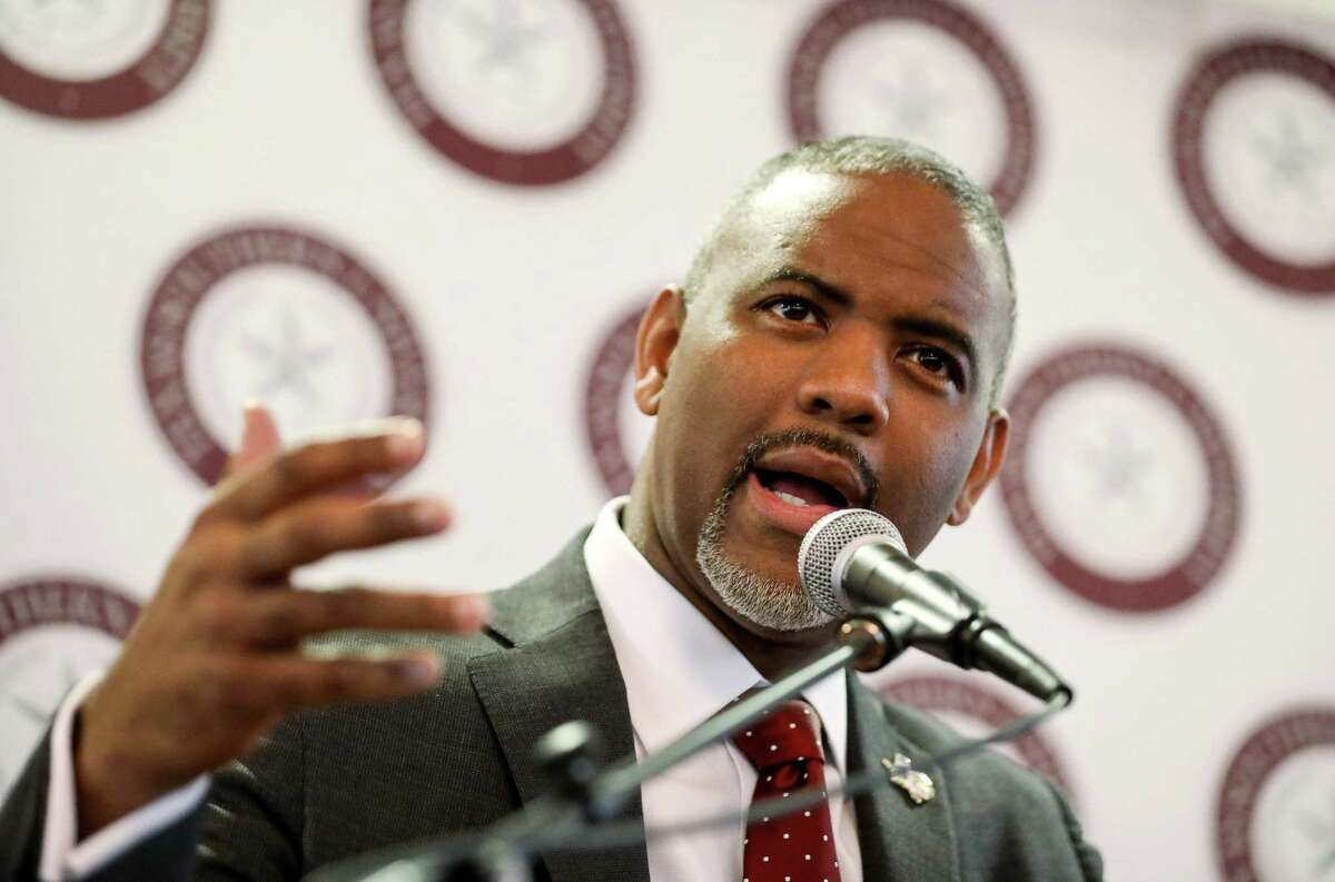 Austin Lane, president of Texas Southern University, speaks about a $2.7 million gift from the Center for Advancing Opportunity to Texas Southern University to start the Center for Justice Research, during a press conference at Texas Southern University, Monday, Jan. 22, 2018, in Houston. ( Jon Shapley / Houston Chronicle )