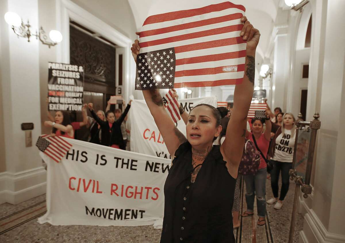Anti-vaccine demonstrators march through California's Capitol in September 2019.
