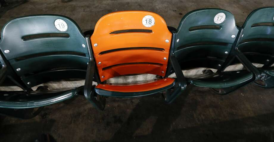 The seat that Yordan Alvarez' upper deck home run landed in last night has been wrapped in orange vinyl by the Astros to mark it. The location is section 337, Row 1, Seat 18. Alvarez is the first Astros player ever to reach the third deck in right field of Minute Maid Park, Tuesday, Sept. 10, 2019, in Houston. Photo: Karen Warren/Staff Photographer