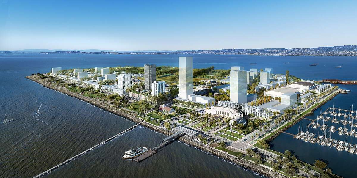 Treasure Island Community Development has started construction on a new ferry terminal on the western shore of Treasure Island that will connect to San Francisco's Financial District. Work has begun on a ferry terminal, bottom center, depicted in this rendering of the fully developed Treasure Island.