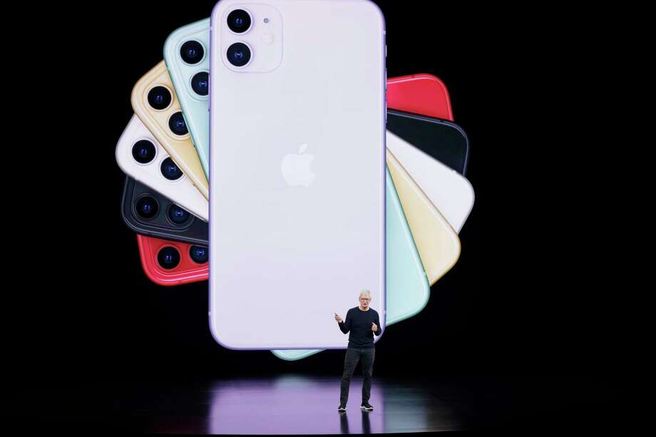 Apple CEO Tim Cook talks about the latest iPhone during an event to announce new products Tuesday, Sept. 10, 2019, in Cupertino, Calif. (AP Photo/Tony Avelar) Photo: Tony Avelar / Copyright 2019 The Associated Press. All rights reserved