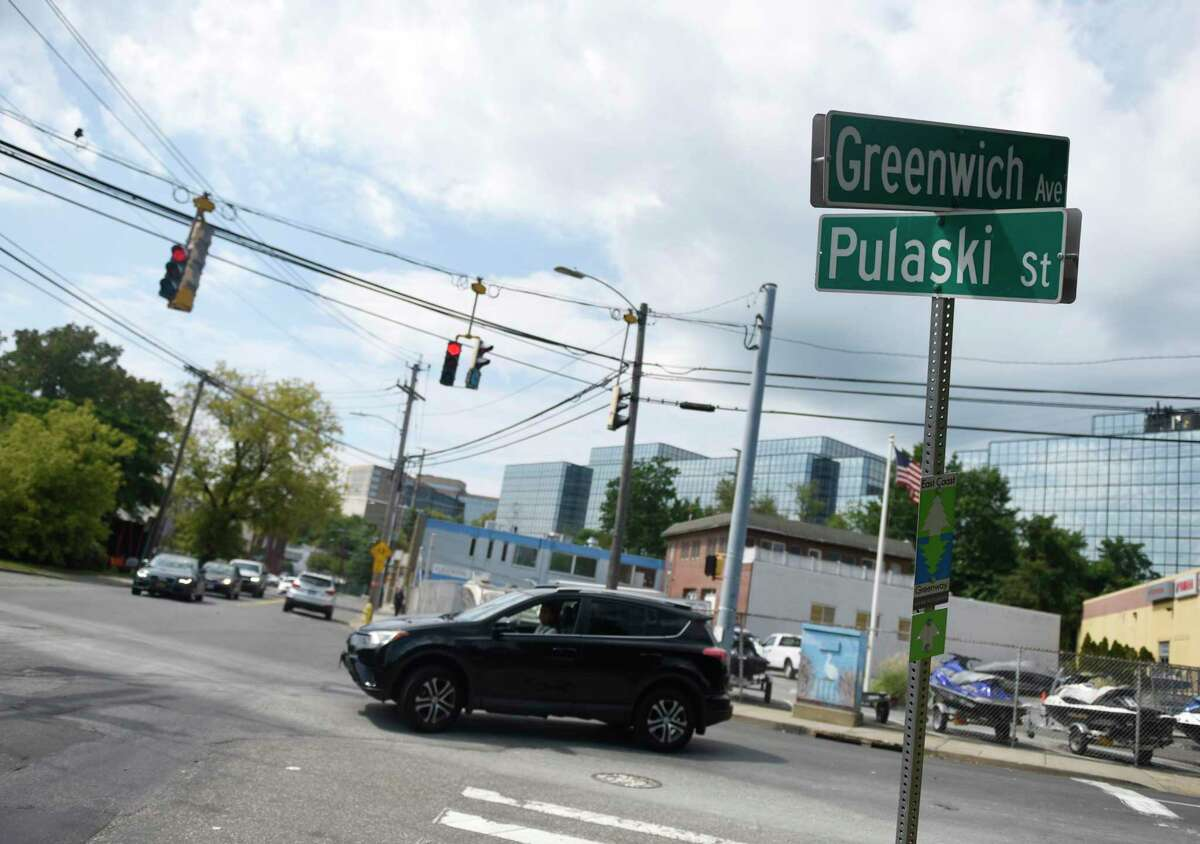 The Stamford Transportation Bureau is looking to replace the stoplights with a modern roundabout at the intersection of Greenwich Avenue, Davenport Street and Pulaski Street.