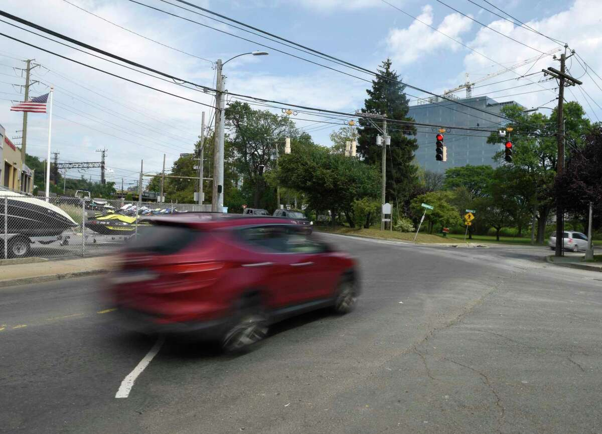 Traffic passes through the intersection of Greenwich Avenue and Pulaski Street in the Waterside section of Stamford on Monday.