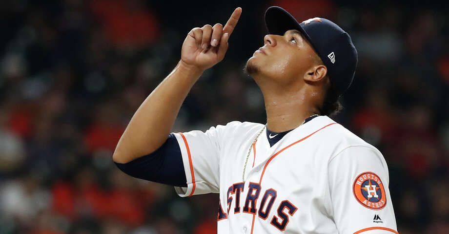 PHOTOS: Astros game-by-game Houston Astros relief pitcher Bryan Abreu (66) reacts after striking out two batters during the seventh inning of an MLB baseball game at Minute Maid Park, Monday,Sept. 9, 2019, in Houston. Browse through the photos to see how the Astros have fared in each game this season. Photo: Karen Warren/Staff Photographer / © 2019 Houston Chronicle