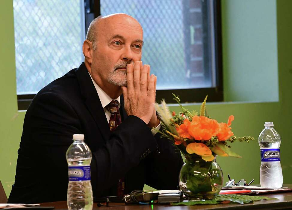 Troy Mayor Patrick Madden listens during a mayoral debate with himself, Rodney Wiltshire and Tom Reale held at the Lansingburgh Boys and Girls Club on Tuesday, Sept. 10, 2019 in Troy, N.Y. (Lori Van Buren/Times Union)