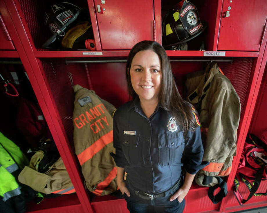 Lindsay Hendrix, 36, is one of two female full-time firefighters in the Granite City Fire Department. She said that, at age 20, she was inspired to become a firefighter by the Sept. 11, 2001 attacks. Photo: Photos By Nathan Woodside | Hearst Illinois