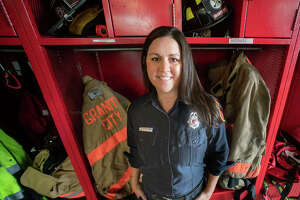 Lindsay Hendrix, 36, is one of two female full-time firefighters in the Granite City Fire Department. She said that, at age 20, she was inspired to become a firefighter by the Sept. 11, 2001 attacks.