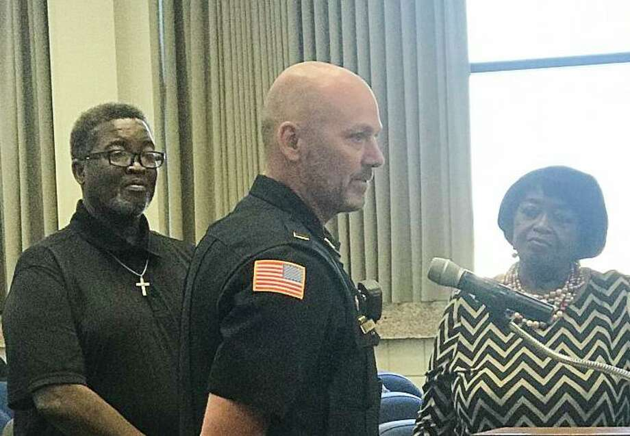 """Lt. Scott Argo of the Port Arthur Police Department was given a commendation from the City Council for his role in securing an arrest in a 1988 homicide case that had grown cold. Daniel MacGinnis has been charged with murder in connection with the long-unsolved slaying of Patricia Ann Jacobs.""""It looks like society is finally rid of Mr. MacGinnis,"""" Argo told the council on Sept. 10, 2019. Photo: Kaitlin Bain / Beaumont Enterprise"""