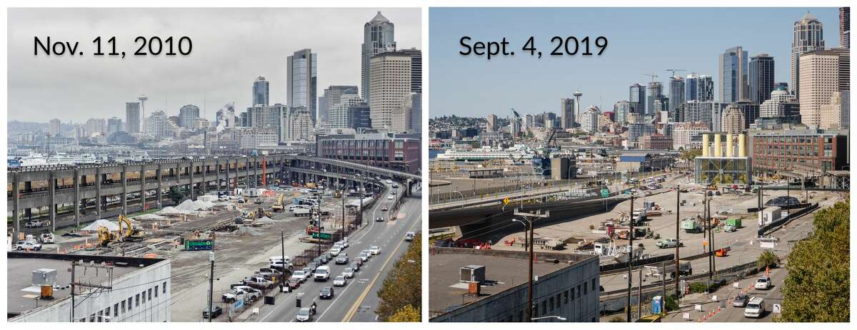 The view at the intersection of South Dearborn Street and First Avenue South Nov. 11, 2010 compared to Sept. 4, 2019.
