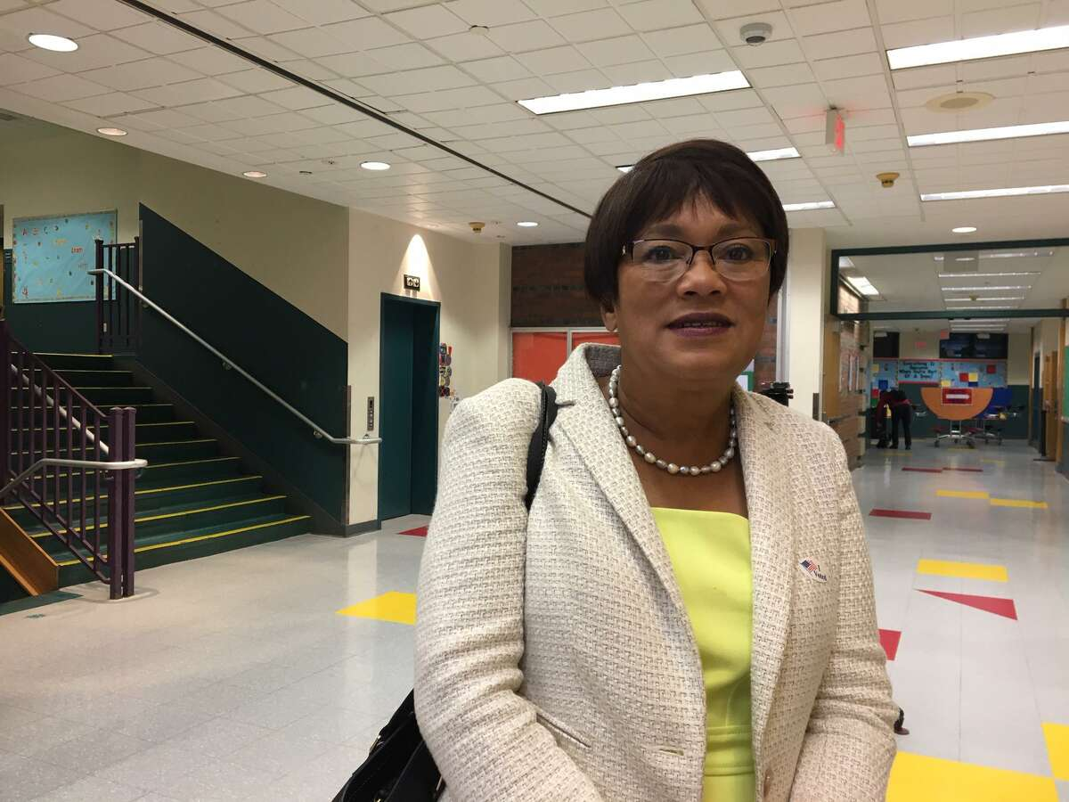 Mayor Toni Harp after voting at the Edgewood School in 2019.