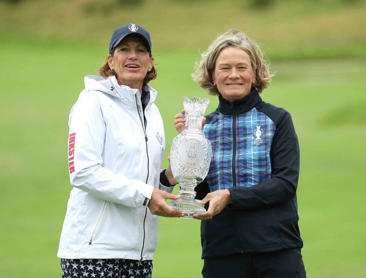 Solheim cup captains Juli Inkster of the US left, and Catriona Matthew Team Europe during a photocall at Gleneagles, Auchterarder, Scotland, Tuesday, Sept. 10, 2019. The Solheim cup runs from 13-15 Sept. (AP Photo/Peter Morrison)