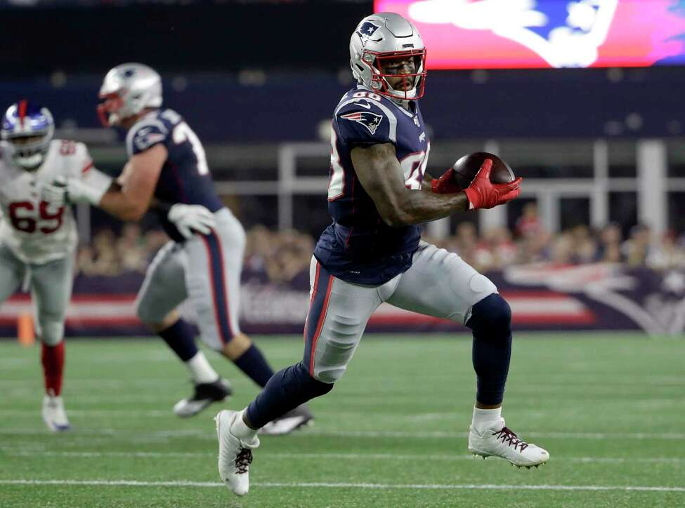 New England Patriots wide receiver Demaryius Thomas runs after catching a pass in the first half of an NFL preseason football game against the New York Giants, Thursday, Aug. 29, 2019, in Foxborough, Mass. (AP Photo/Steven Senne)