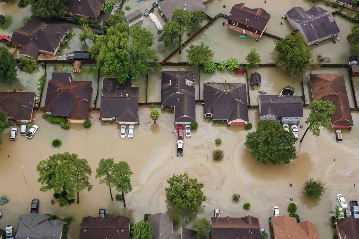 Residential neighborhoods near the Interstate 10 sit in floodwater in the wake of Hurricane Harvey in Houston, on Aug. 29, 2017.