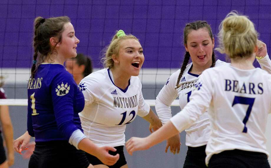 In this file photo, Maddy Wofford (12) of Montgomery reacts after an ace during the first set of a non-district high school volleyball match at Montgomery High School, Tuesday, Aug. 6, 2019, in Montgomery. Photo: Jason Fochtman, Houston Chronicle / Staff Photographer / Houston Chronicle
