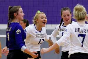 In this file photo, Maddy Wofford (12) of Montgomery reacts after an ace during the first set of a non-district high school volleyball match at Montgomery High School, Tuesday, Aug. 6, 2019, in Montgomery.