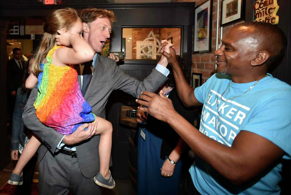 New Haven, Connecticut - Tuesday, September 10, 2019: New Haven Democratic Primary mayoral candidate Justin Elicker with his daughter Moly, 4, Tuesday night celebrating victory over incumbent Mayor Toni Harp at the Trinity Bar & Grill in New Haven.