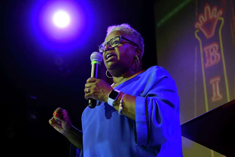 State Senator Marilyn Moore speaks to her supporters after losing her primary challenge against Mayor Joe Ganim during her campaign party at the Bijou Theater in Bridgeport, Conn., on Tuesday Sept. 10, 2019. Photo: Christian Abraham / Hearst Connecticut Media / Connecticut Post