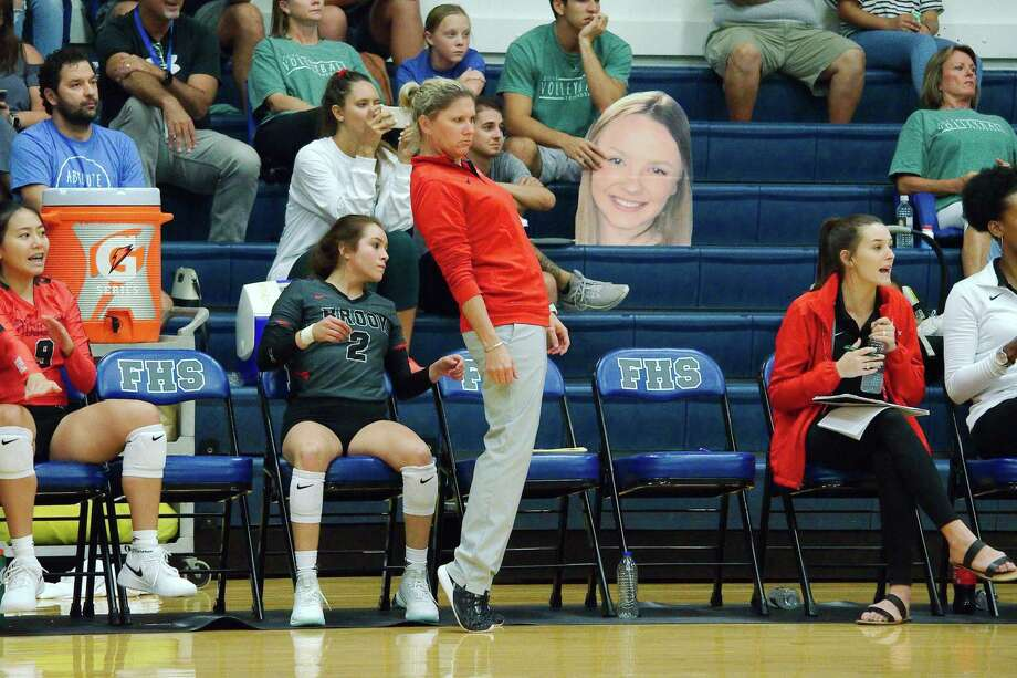 Clear Brook head coach Meredith Thompson watched her team put up a good fight before falling in four sets to Dawson in a Class 6A regional quarterfinal volleyball match Monday night. Photo: Kirk Sides / Staff Photographer / © 2019 Kirk Sides / Houston Chronicle