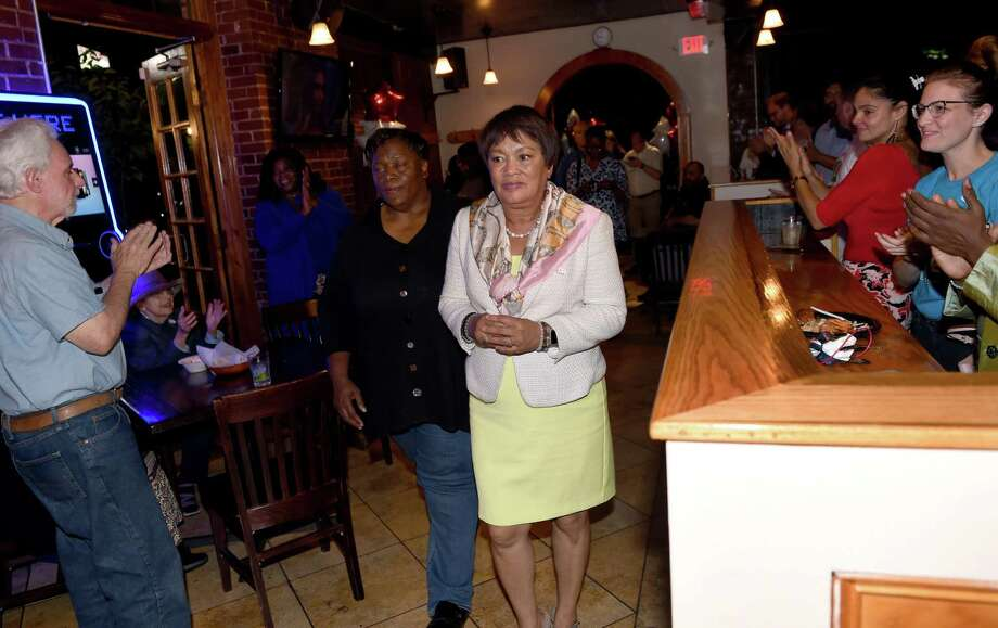 New Haven Mayor Toni Harp (center) enters 50 Fitch Street to speak to supporters and concede to Justin Elicker in the Democratic mayoral primary in New Haven on September 10, 2019. Photo: Arnold Gold / Hearst Connecticut Media / New Haven Register