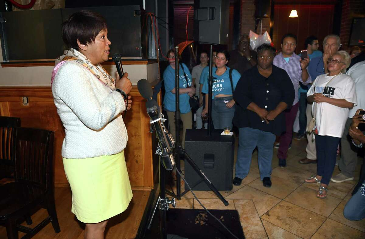 New Haven Mayor Toni Harp (left) speaks to supporters and concedes to Justin Elicker in the Democratic mayoral primary at 50 Fitch Street in New Haven on September 10, 2019.