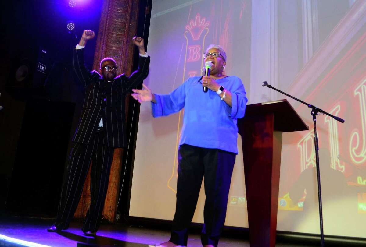 State Senator Marilyn Moore hold her primary election campaign party at the Bijou Theater in Bridgeport, Conn., on Tuesday Sept. 10, 2019. Moore unofficially lost her primary challenge against Mayor Joe Ganim.