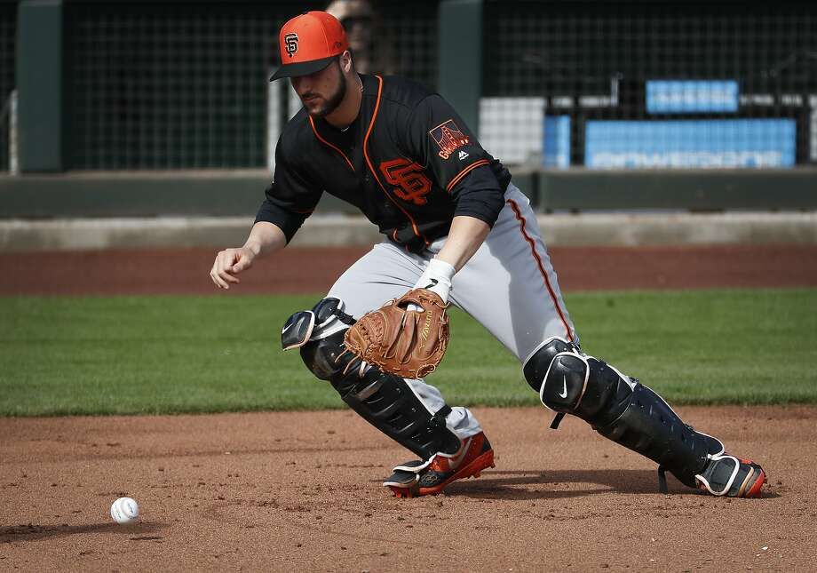Giants prospect Joey Bart works out during a spring training this February. Photo: Matt York / Associated Press