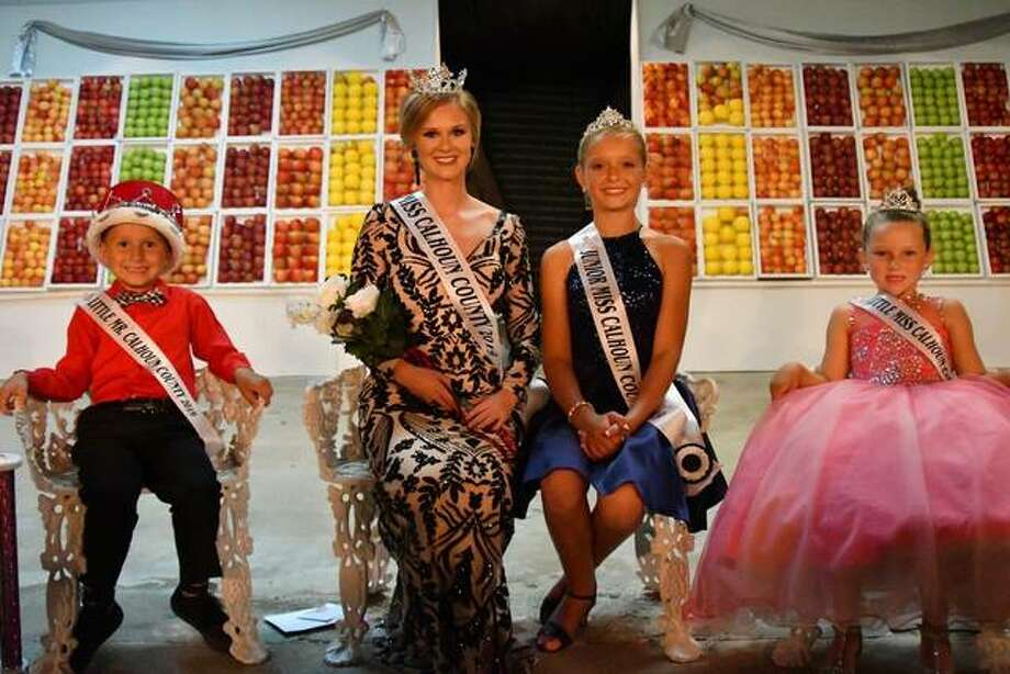 """Toni """"Junie"""" Zirkelbach (second from left) was crowned Sunday as Calhoun County Fair Queen. Joining her as fair royalty are Little Mister Drew Wickenhauser (from left), Junior Miss Joy Hurley and Little Miss Kate Adams."""