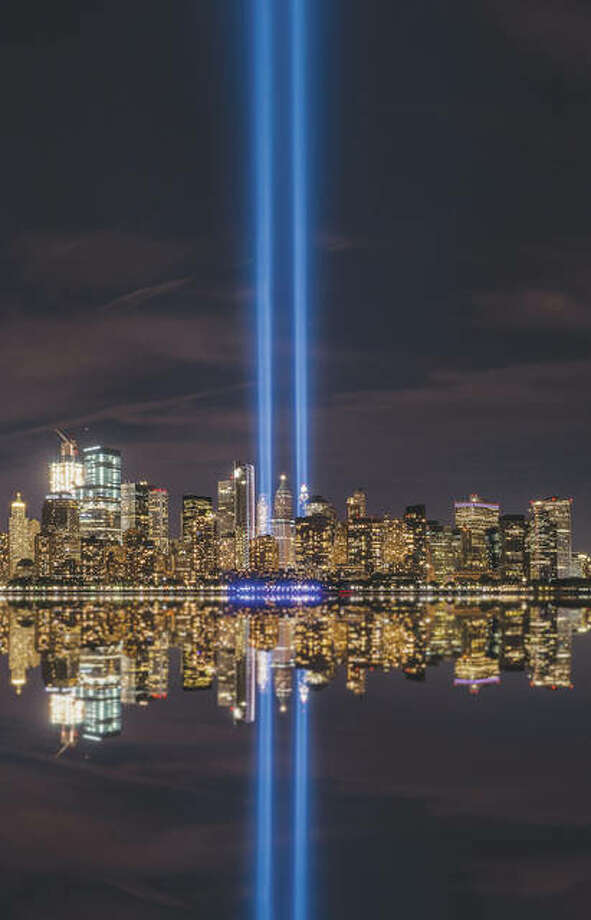 Light from a 9/11 memorial shines from Ground Zero of the Sept. 11, 2001, terror attacks. Photo: Getty Images