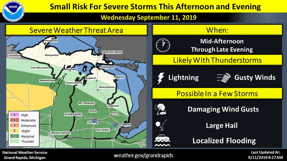 This graphic from the National Weather Service shows the severe weather outlook for Wednesday, Sept. 11, 2019. (Image provided/National Weather Service) Photo: (Images Provided/National Weather Service)