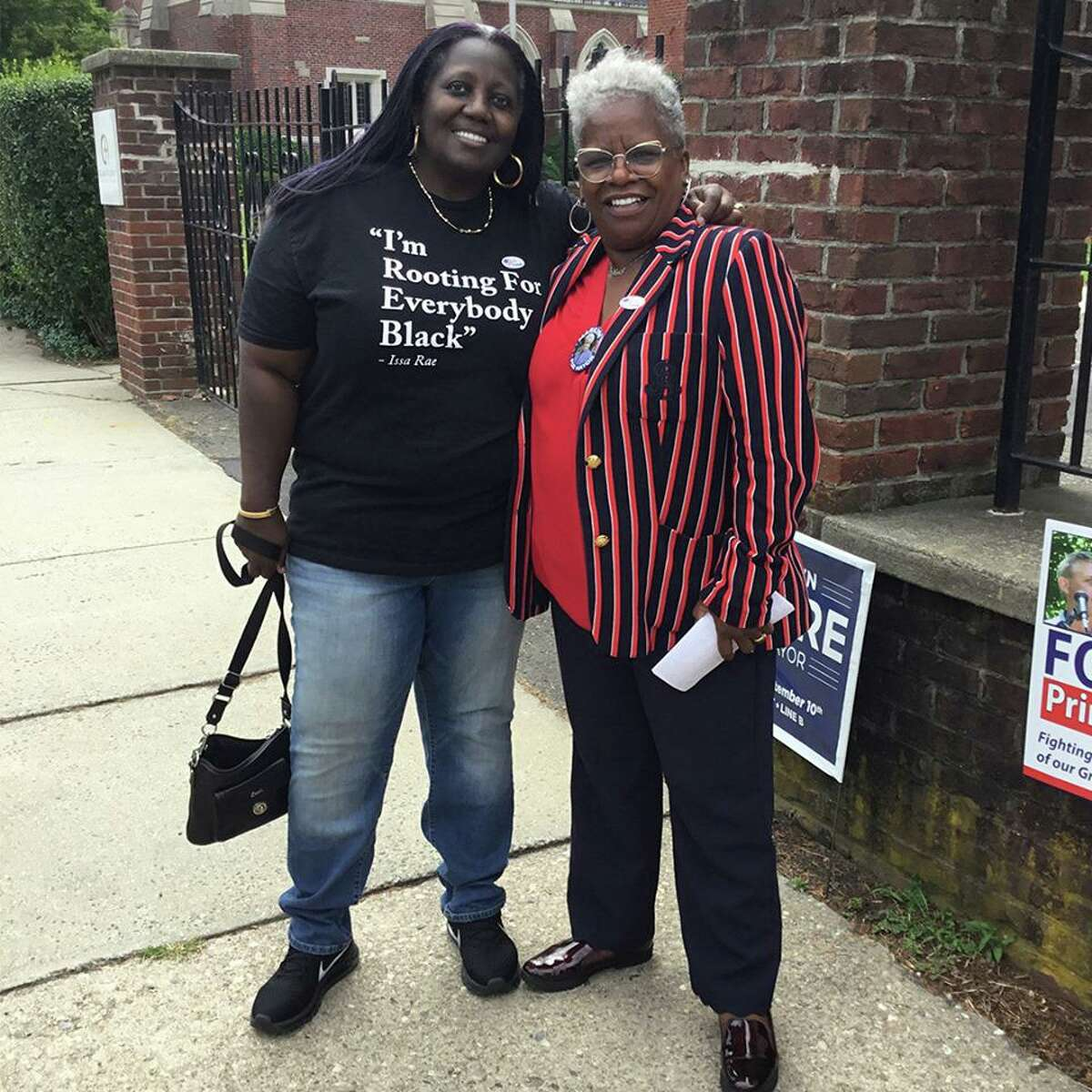 Sen. Marilyn Moore, D-Bridgeport, campaigning for mayor
