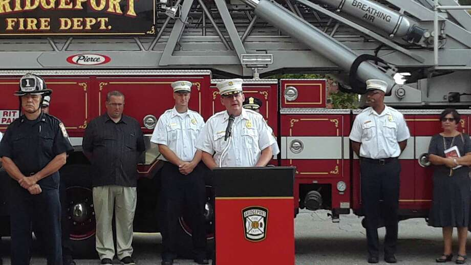 Bridgeport Fire Chief Richard Thode speaks Sept. 11, 2019 during an event at Bridgeport headquarters to memorialize the 9-11 terrorist attacks. Photo: Amanda Cuda / Hearst Connecticut Media Group