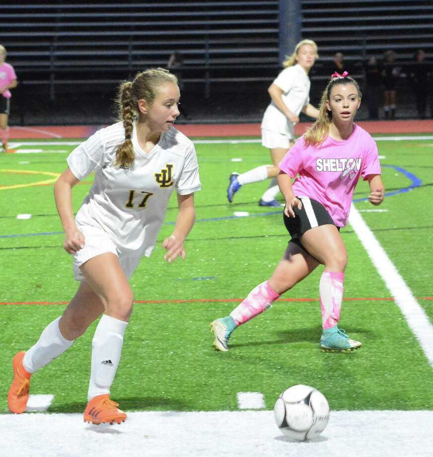 Shelby Green is one of Jonathan Law's talented center midfielders. Photo: David G. Whitham / For Hearst Connecticut Media / Milford Mirror
